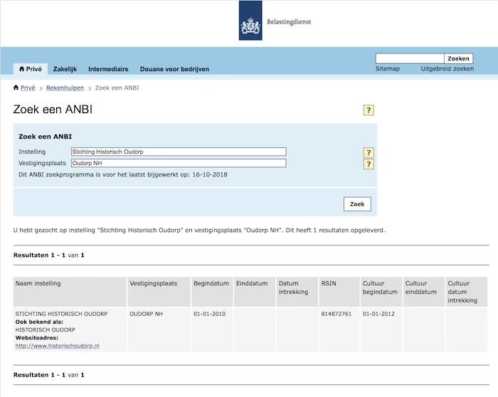 Stichting Historisch Oudorp ANBI status